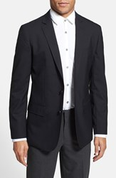 Men's Big And Tall Calibrate Trim Fit Wool And Mohair Blazer Black