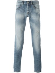 Eleventy Distressd Slim Fit Jeans Blue