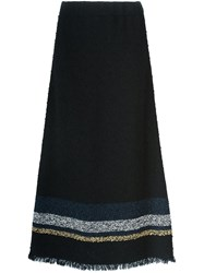 Sonia Rykiel Fray Hem Maxi Skirt Black