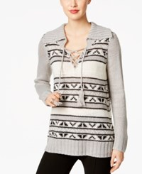 G.H. Bass And Co. Striped Lace Up Sweater Grey