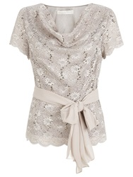 Jacques Vert Stretch Lace Cowl Top Mid Neutral