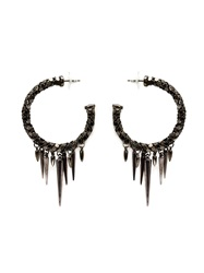 Michael Schmidt Mesh Spike Hoop Earrings Black