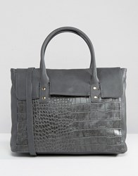 Pieces Foldover Tote Bag In Grey Croc Grey