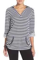 Women's Marc New York Stripe Tunic Pullover Smoke White