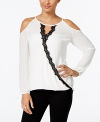 Thalia Sodi Lace Trim Cold Shoulder Top Only At Macy's Cloud