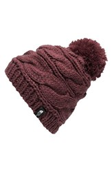 The North Face Women's Triple Cable Pom Beanie Red Deep Garnet Red