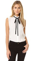 Frame Le Ruffle Neck Sleeveless Blouse Blanc