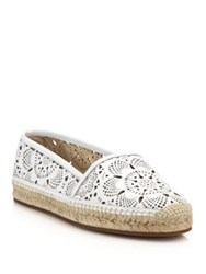 Burberry Hodegson Laser Cut Leather Espadrille Flats Optic White