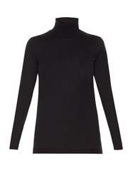 Valentino Roll Neck Silk Blend Sweater Black