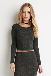 Forever 21 Ribbed Knit Crop Top Charcoal