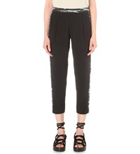 Allsaints Misty Silk Trousers Black Cyan