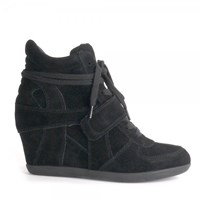 Ash Bowie Suede High Top Wedge Trainers Black