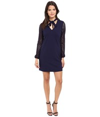 Jessica Simpson Solid Shift With Lace Sleeves Peacoat Women's Dress Blue