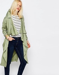 Asos Waterfall Trench In Soft Tencel Olive