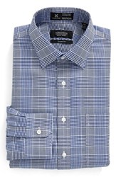 Nordstrom Men's Men's Shop Smartcare Classic Fit Graphic Check Dress Shirt Blue Mazarine