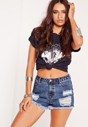 Missguided High Waisted Ripped Shorts Rich Vintage Blue Blue