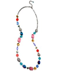 Macy's Haskell Hematite Tone Colorful Bead Long Necklace