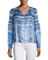 Parker Persimmon Split Neck Printed Blouse Olympos Women's