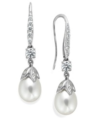 Arabella Bridal Cultured Freshwater Pearl 8Mm And Swarovski Zirconia 1 5 8 Ct. T.W. Leaf Drop Earrings In Sterling Silver