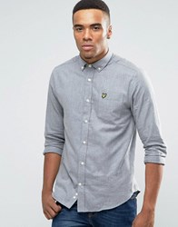 Lyle And Scott Buttondown Flannel Shirt In Regular Fit In Grey Marl Grey Marl