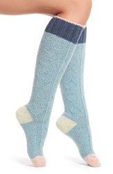 Urban Knit Women's Cable Knee High Socks Powder Blue