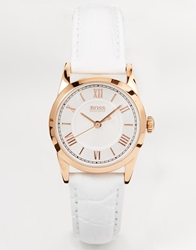 Hugo Boss Round Face Leather Strap Watch With Rose Gold Dial White