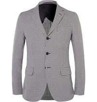 Mp Massimo Piombo Slim Fit Houndstooth Cotton And Flax Blend Blazer Blue