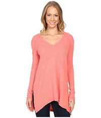 Mod O Doc Textured Slub Stripe Seamed V Neck Long Sleeve Tee Cali Coral Women's T Shirt Pink