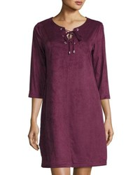 Neiman Marcus 3 4 Sleeve Faux Suede Dress Berry