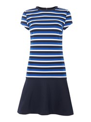 Michael Kors Short Sleeve Stripe Flounce Dress Blue Multi