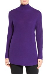Eileen Fisher Women's Fine Rib Merino Turtleneck Tunic Ultra Violet
