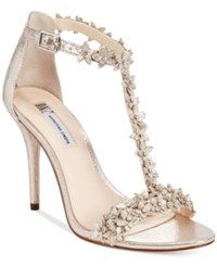 Inc International Concepts Women's Rosiee T Strap Embellished Evening Sandals Only At Macy's Women's Shoes Pearl Gold