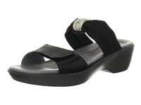 Naot Footwear Pinotage Black Madras Leather Black Stretch Women's Sandals