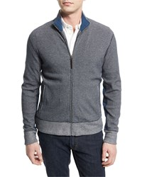 Billy Reid Textured Pique Knit Track Jacket Navy Men's