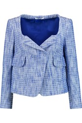 Carven Cropped Cotton Blend Boucle Tweed Jacket Blue