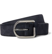 Tod's 3Cm Blue Suede Belt Midnight Blue