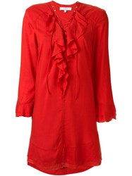 Iro Ruffled Placket Dress Red
