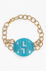 Women's Moon And Lola 'Annabel' Medium Personalized Monogram Bracelet Turquoise Gold