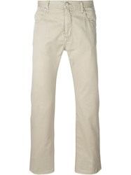 Armani Jeans Straight Leg Fit Back Pocket Detail Trousers Nude And Neutrals