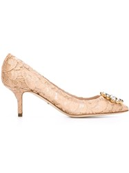 Dolce And Gabbana Floral Lace Pumps Pink And Purple