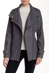 Rachel By Rachel Roy Belted Asymmetrical Wool Blend Zip Jacket Gray