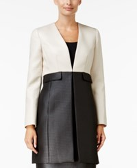 Kasper Dot Jacquard Colorblocked Long Jacket Black Ivory