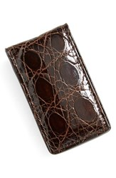 Men's Boconi Crocodile Magnetic Money Clip Brown