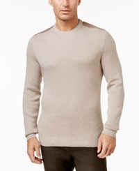 Tasso Elba Men's Faux Suede Trim Sweater Only At Macy's Taupe Heather