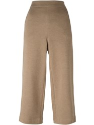 Akris Punto Elastic Waistband Cropped Trousers Brown