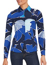 Escada Printed Long Sleeve Shirt Blue