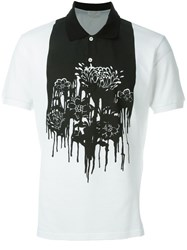 Alexander Mcqueen Floral And Paint Print Polo Shirt Black