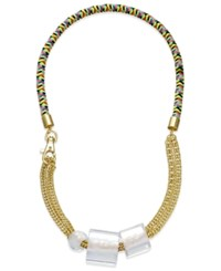 Abs By Allen Schwartz Gold Tone Chain And Cube Statement Necklace
