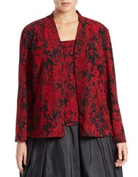 Alex Evenings Plus 2 Piece Jacquard Tank And Cardigan Set Black Red