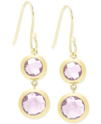 Victoria Townsend Amethyst 9 Ct. T.W. Bezel Drop Earrings In 18K Gold Over Sterling Silver Yellow Gold